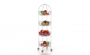 Organizator fructe/legume, 4 rafturi rotund, cu roti Tekno-tel MG002