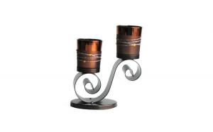 Sfesnic din metal cu 2 candela din sticla, 405ZX
