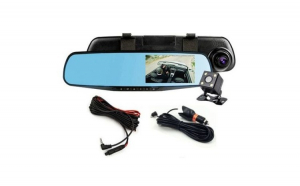 "Oglinda cu camera auto DVR, dubla(fata/spate), FullHD 1080p, Display 4,3"", Unghi larg filmare"