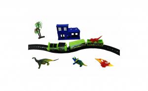 Trenulet electric cu dinozauri si gara