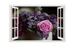 Sticker decorativ, Fereastra 3D, Trandafir, 85 cm, 405STK