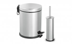 Set din inox pentru baie - cos gunoi 5L+ perie toaleta