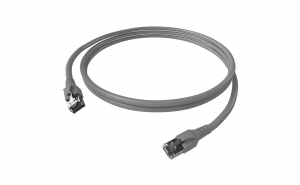 Cablu patchcord Cat.6A 10G S/FTP dublu ecranat RJ45 LSOH 500MHz gri 0.5 m
