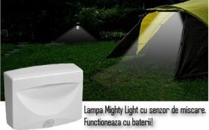 Lampa cu Leduri si senzor de miscare Mighty Light.Functioneaza cu 3 baterii tip AA, la doar 29 RON in loc de 58 RON