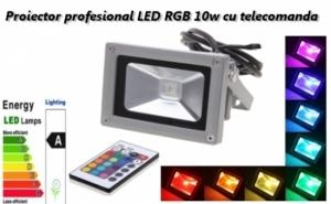Proiector profesional cu LED RGB 10W de exterior cu telecomanda, la doar 89 RON in loc de 180 RON