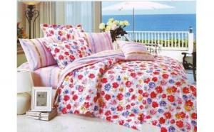 Lenjerie pat 2 persoane din Bumbac 100% - multicolor 1920 (4 piese) la doar 159 RON