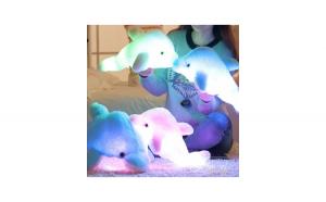 Jucarie de plus delfin cu lumina led, alb