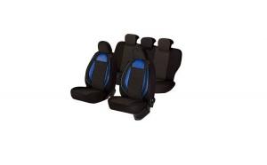 Huse scaune auto AUDI A2  2000-2005  dAL Racing Negru/Albastru,Piele ecologica + Textil