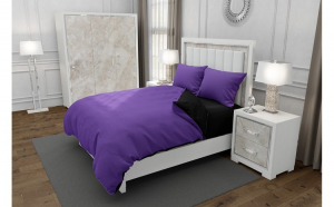 Lenjerie de pat matrimonial cu 4 huse perna dreptunghiulara, Duo Purple, bumbac satinat, gramaj tesatura 120 g mp, Mov Negru, 6 piese