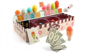 Joc Montessori 3 in 1 Standul de inghetata, stivuire, matematic, joc de rol