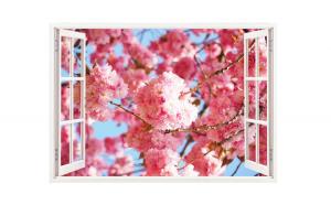 Sticker decorativ, Fereastra 3D, Flori, 85 cm, 305STK