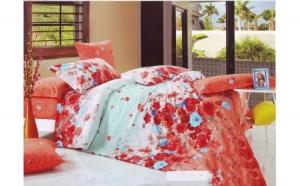 Lenjerie pat 2 persoane din Bumbac 100% - multicolor 1919(4 piese) la doar 159 RON