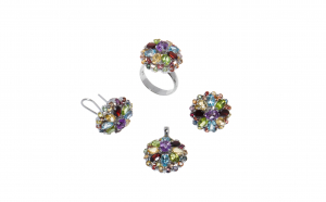 Set cercei, inel si pandantiv din argint cu pietre semipretioase, multicolor, model floare , circumferinta inel 59 mm