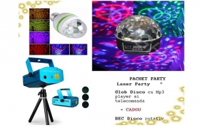 Pachet disco: Laser Disco cu doua culori + Glob Disco cu Mp 3 player si telecomanda+Bec disco Rotativ, la doar 135 RON in loc de 550 RON