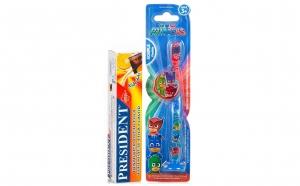 Periuta dinti PJ Masks LED, copii 3+ ani + pasta President - Cola