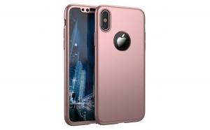 Husa Apple iPhone X Flippy Full Cover 360 Roz Auriu + Folie de protectie