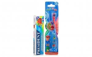 Periuta dinti PJ Masks LED, copii 3+ ani + pasta President - Capsuni