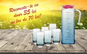 Carafa sticla 1.2 l si set 6 pahare din sticla fara picior suc/apa, la 35 RON in loc de 70 RON