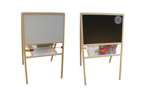 Tabla magnetica pentru copii, 2 fete, cadru din lemn, set accesorii