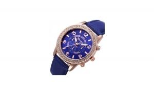Ceas Dama Geneva Blue Leather
