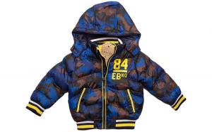 Geaca groasa de iarna pentru baieti, E-Bound, imprimeu camuflaj,  110 cm, 5 ani