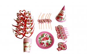 Set pentru petrecere 36 piese, farfurii, pahare, paie de baut, ochelari, coifuri, trompete, model flamingo party