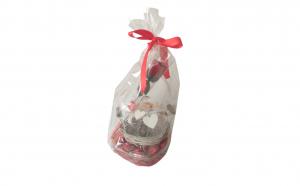 Pachet cadou cu 1 cos rotund impletit  cu clopot de sticla , 1 cutie cu bomboane de ciocolata si 1 trandafir din sapun