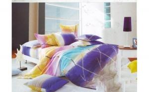 Lenjerie pat 2 persoane din Bumbac 100% - multicolor 1914 (4 piese) la doar 159 RON