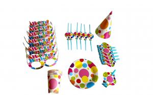 Set pentru petrecere 36 piese, farfurii, pahare, paie de baut, ochelari, coifuri, trompete, model baloane party