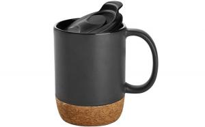 Cana cafea/ceai, Quasar & Co., 400 ml, ceramica, cu capac to go, baza de pluta, negru