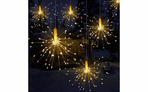 Instalatie 5 artificii decorative, diametru 30 cm, lungime 5M, alb cald