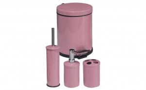 Set accesorii pentru baie 4 piese roz