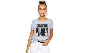 Tricou dama gri - Straight Outta Resita