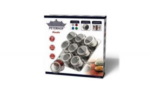 Set condimente cu suport magnetic,10 piese,sticlă,Inox,Peterhof