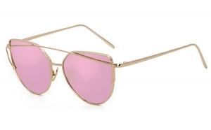 Ochelari de soare Ochi de Pisica Oglinda Roz Cherry - Auriu