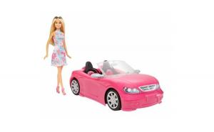 Papusa Barbie cu masina decapotabila roz