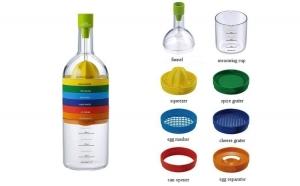 Set multifunctional de bucatarie, 8 accesorii, sub forma de sticla