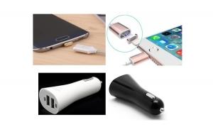 Cablu magnetic pentru iPhone sau Android + Incarcator auto, Dual USB, 3.1A