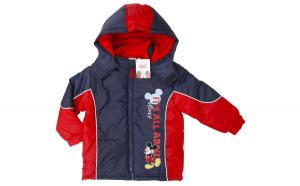 Geaca iarna baieti, Mickey Mouse, rosu, 128 cm, 8 ani