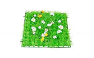 Placa iarba sintetica pentru gradina, 25 x 25cm, cu flori