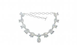 Colier din argint cu piatra lunii, sidef si cuart de stanca, lungime - 46 cm, reglabil