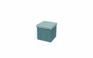 Taburet pliabil textil - cu spatiu de depozitare, verde