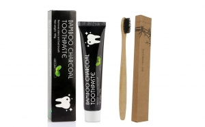 Set pasta si periuta ecologica,cu carbune din Bambus Activat - efect de albire a dintilor, aroma menta, Bright Kontrol
