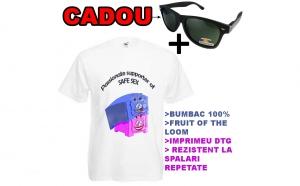 Tricou imprimeu amuzant+ ochelari de soare polarizati CADOU