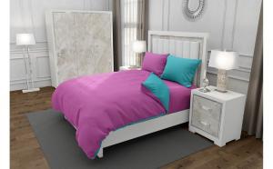 Lenjerie de pat matrimonial cu husa elastic pat si 4 huse perna patrata si mix culori, Duo Pink, bumbac satinat, gramaj tesatura 120 g mp, Roz Blue, 6 piese