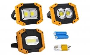 Proiector Portabil antisoc LED, 30w, Acumulatori 18650, lampa lucru proiector 3 modele