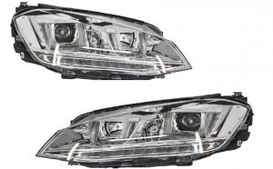 Set 2 faruri 3D LED compatibil cu VW Golf VII (2012-up) R-Line LED Turn Light Chrome