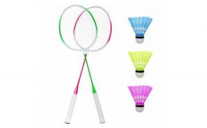 Set 2 rachete de badminton, ideale pentru copii, colorate