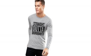 Bluza barbati gri cu text negru - Straight Outta Dorobanti