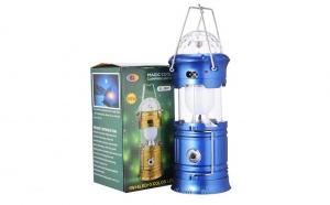 Felinar LED si RGB Disco - cu lanterna si USB, incarcare priza 220V + panou solar, albastru